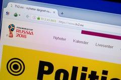 Ryazan, Rusland - Juni 26, 2018: Homepage van Tv2 website op de vertoning van PC URL - Tv2 Nr royalty-vrije stock fotografie