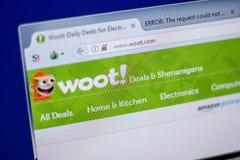 Ryazan, Rusland - Juni 05, 2018: Homepage van Woot-website op de vertoning van PC, url - Woot com royalty-vrije stock afbeelding