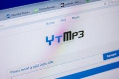 Ryazan, Rusland - Juni 05, 2018: Homepage van YtMp3-website op de vertoning van PC, url - YtMp3 CC royalty-vrije stock fotografie