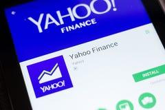 Ryazan, Rusland - Juni 24, 2018: Yahoo Finance mobiele app op de vertoning van tabletpc royalty-vrije stock afbeelding