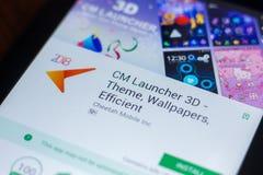 Ryazan, Rusland - Maart 21, 2018 - cm-Lanceerinrichting 3D mobiele app op de vertoning van tabletpc Royalty-vrije Stock Foto