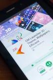 Ryazan, Rusland - Maart 21, 2018 - cm-Lanceerinrichting 3D mobiele app op de vertoning van tabletpc Royalty-vrije Stock Foto's