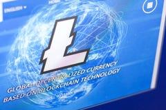 Ryazan, Rusland - Maart 29, 2018 - Homepage van Litecoin-cryptocurrency op de vertoning van PC, adres - litecoin com royalty-vrije stock fotografie