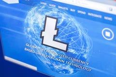 Ryazan, Rusland - Maart 29, 2018 - Homepage van Litecoin-cryptocurrency op de vertoning van PC, adres - litecoin com stock foto's