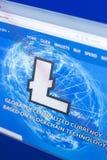 Ryazan, Rusland - Maart 29, 2018 - Homepage van Litecoin-cryptocurrency op de vertoning van PC, adres - litecoin com royalty-vrije stock afbeelding
