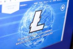 Ryazan, Rusland - Maart 29, 2018 - Homepage van Litecoin-cryptocurrency op de vertoning van PC, adres - litecoin com stock afbeeldingen