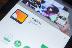 Ryazan, Rusland - Mei 16, 2018: AllCast mobiele app op de vertoning van tabletpc Stock Fotografie