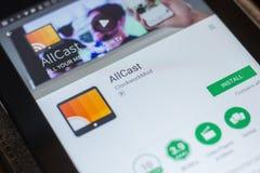 Ryazan, Rusland - Mei 16, 2018: AllCast mobiele app op de vertoning van tabletpc Royalty-vrije Stock Foto