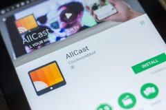 Ryazan, Rusland - Mei 16, 2018: AllCast mobiele app op de vertoning van tabletpc Royalty-vrije Stock Afbeelding