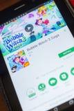Ryazan, Rusland - Mei 16, 2018: Bellenheks 3 Saga mobiele app op de vertoning van tabletpc Stock Afbeelding