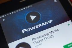 Ryazan, Rusland - Mei 16, 2018: De Speler mobiele app van de Powerampmuziek op de vertoning van tabletpc Royalty-vrije Stock Foto's