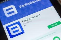Ryazan, Rusland - Mei 16, 2018: FanFiction netto mobiele app op de vertoning van tabletpc Stock Afbeeldingen