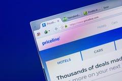 Ryazan, Rusland - Mei 20, 2018: Homepage van PriceLine-website op de vertoning van PC, url - PriceLine com stock foto