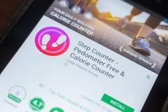 Ryazan, Rusland - Mei 16, 2018: Stapteller mobiele app op de vertoning van tabletpc Stock Foto