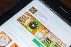 Ryazan, Rusland - Mei 16, 2018: Word Koekjesapp pictogram of embleem in de lijst van mobiele apps Royalty-vrije Stock Foto