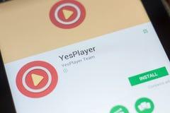 Ryazan, Rusland - Mei 16, 2018: YesPlayer mobiele app op de vertoning van tabletpc Royalty-vrije Stock Foto