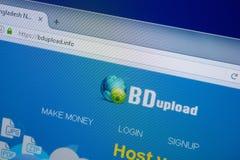 Ryazan, Rusland - September 09, 2018: De homepage van BD uploadt website op de vertoning van PC, url - BdUpload info stock afbeelding