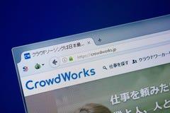 Ryazan, Rusland - September 09, 2018: De homepage van Menigte werkt website aan de vertoning van PC, url - CrowdWorks JP royalty-vrije stock foto