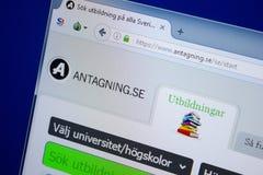 Ryazan, Rusland - September 09, 2018: Homepage van Antagning-website op de vertoning van PC, url - Antagning Se royalty-vrije stock afbeeldingen