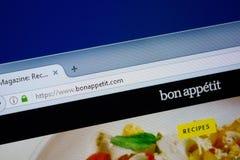 Ryazan, Rusland - September 09, 2018: Homepage van Bon Appetit-website op de vertoning van PC, url - BonAppetit com royalty-vrije stock afbeeldingen