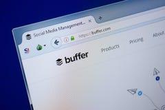 Ryazan, Rusland - September 09, 2018: Homepage van Bufferwebsite op de vertoning van PC, url - Buffer com stock foto's