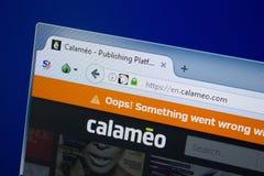 Ryazan, Rusland - September 09, 2018: Homepage van Calameo-website op de vertoning van PC, url - Calameo com royalty-vrije stock afbeelding