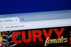 Ryazan, Rusland - September 09, 2018: Homepage van Curvy-Wijfjeswebsite op de vertoning van PC, url - CurvyFemales com royalty-vrije stock afbeelding