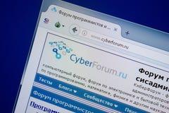 Ryazan, Rusland - September 09, 2018: Homepage van Cyber-Forumwebsite op de vertoning van PC, url - CyberForum ru royalty-vrije stock foto
