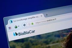 Ryazan, Rusland - September 09, 2018: Homepage van de Autowebsite van Bla Bla op de vertoning van PC, url - BlaBlaCar Fr stock afbeeldingen