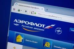 Ryazan, Rusland - September 09, 2018: Homepage van de website van Aeroflot op de vertoning van PC, url - Aeroflot ru stock fotografie