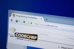 Ryazan, Rusland - September 09, 2018: Homepage van de website van de Codechef-kok op de vertoning van PC, url - CodeChef com stock foto