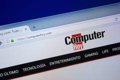 Ryazan, Rusland - September 09, 2018: Homepage van de website van Computerhoy op de vertoning van PC, url - ComputerHoy com royalty-vrije stock afbeelding