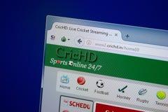 Ryazan, Rusland - September 09, 2018: Homepage van de website van Cric Hd op de vertoning van PC, url - CricHd In stock afbeelding