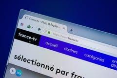 Ryazan, Rusland - September 09, 2018: Homepage van de website van Frankrijk op de vertoning van PC, url - Frankrijk TV royalty-vrije stock afbeelding