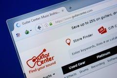Ryazan, Rusland - September 09, 2018: Homepage van de website van het Gitaarcentrum op de vertoning van PC, url - GuitarCenter co stock afbeelding