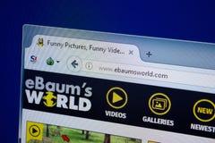 Ryazan, Rusland - September 09, 2018: Homepage van Ebaums-Wereldwebsite op de vertoning van PC, url - EbaumsWorld com stock foto