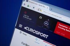 Ryazan, Rusland - September 09, 2018: Homepage van Euro Sportwebsite op de vertoning van PC, url - EuroSport com royalty-vrije stock afbeelding