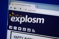 Ryazan, Rusland - September 09, 2018: Homepage van Explosm-website op de vertoning van PC, url - Explosm netto stock afbeelding