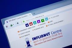 Ryazan, Rusland - September 09, 2018: Homepage van Inf de Netto website van de Lib op de vertoning van PC, url - InfLibNet Ac In royalty-vrije stock fotografie