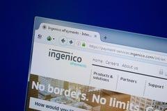 Ryazan, Rusland - September 09, 2018: Homepage van Ingenico-website op de vertoning van PC, url - Ingenico com royalty-vrije stock foto's