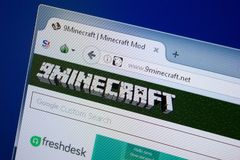 Ryazan, Rusland - September 09, 2018: Homepage van 9 Minecraft website op de vertoning van PC, url - 9Minecraft netto royalty-vrije stock foto