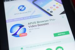 Ryazan, Russia - April 19, 2018 - APUS Browser Pro - Video Booster mobile app on the display of tablet PC. Ryazan, Russia - April 19, 2018 - APUS Browser Pro Royalty Free Stock Images