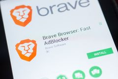Ryazan, Russia - April 19, 2018 - Brave Browser - Fast AdBlocker mobile app on the display of tablet PC. Ryazan, Russia - April 19, 2018 - Brave Browser - Fast stock image