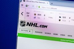 Ryazan, Russia - April 29, 2018: Homepage of National Hockey League - NHL website on the display of PC, url - Nhl.com.  stock photography