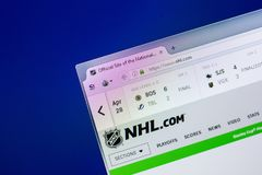 Ryazan, Russia - April 29, 2018: Homepage of National Hockey League - NHL website on the display of PC, url - Nhl.com.  royalty free stock photography