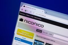 Ryazan, Russia - April 16, 2018 - Homepage of Niconico or Nico Video website on the display of PC, url - nicovideo.jp.  Royalty Free Stock Photography