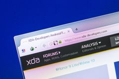 Ryazan, Russia - April 29, 2018: Homepage of XDA-Developers website on the display of PC, url - XDA-Developers.com. Ryazan, Russia - April 29, 2018: Homepage of Stock Photos