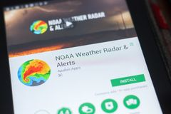 Ryazan, Russia - April 19, 2018 - NOAA Weather Radar and Alerts mobile app on the display of tablet PC. Ryazan, Russia - April 19, 2018 - NOAA Weather Radar and royalty free stock photo