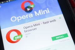 Ryazan, Russia - April 19, 2018 - Opera Mini - fast web browser mobile app on the display of tablet PC. royalty free stock image