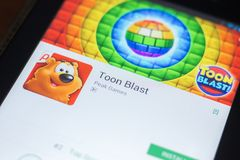 Ryazan, Russia - April 19, 2018 - Toon Blast mobile app on the display of tablet PC. Ryazan, Russia - April 19, 2018 - Toon Blast mobile app on the display of Royalty Free Stock Images